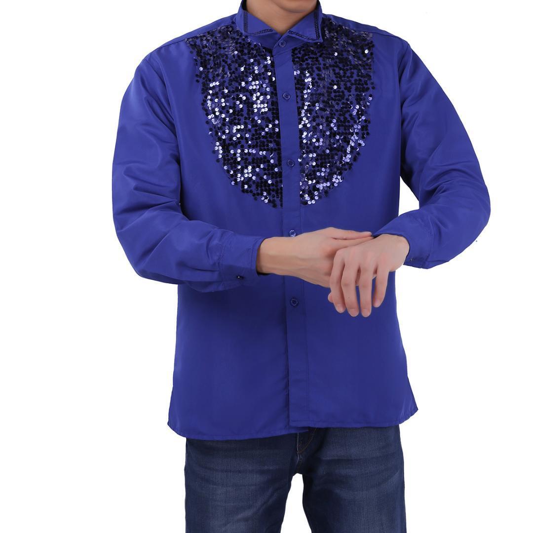 TiaoBug 패션 남자 라틴 댄스 의상 반짝 반짝 스팽글 긴 소매 합창단 댄스 무대 탑 셔츠 현대 탱고 룸바 착용
