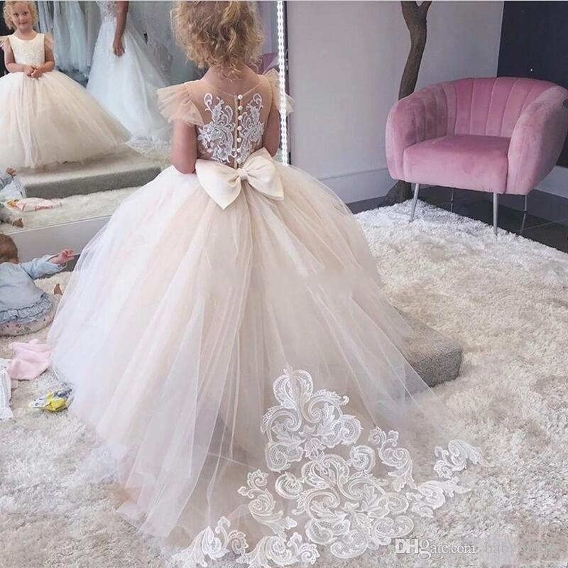 Principessa sfera abito Abiti da sposa per il matrimonio Jewel Neck Appliques ragazze Pageant abiti sweep treno abito Bambini festa di compleanno