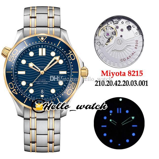 Nuovo Drive 300M 210.20.42.20.03.001 Blu Texture Quadrante Miyota 8215 Automatico Mens Watch blu ceramica Lunetta Two Tone oro acciaio Hello_watch