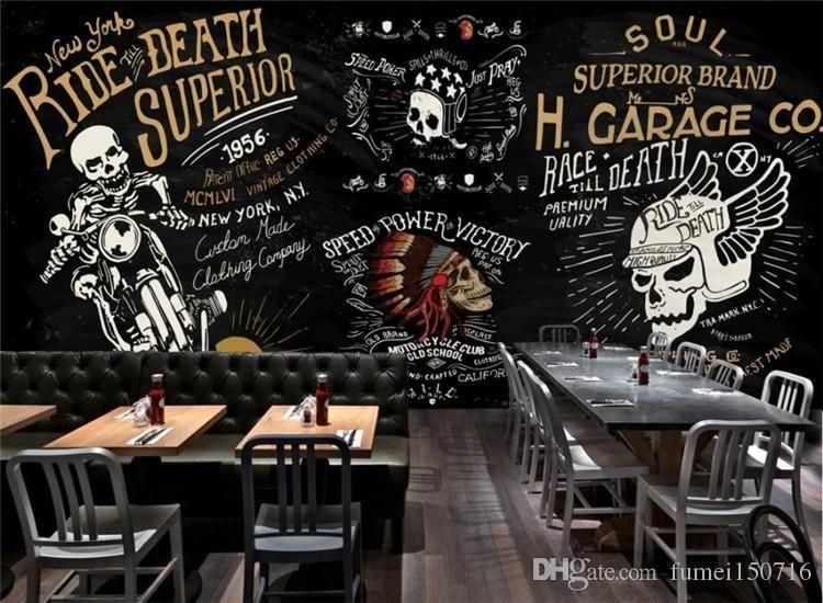 Custom Wallpaper European And American Motorcycle Skull Bar Bar Ktv Graffiti Mural Background Wall 3d Wallpaper Mural Free High Resolution Widescreen