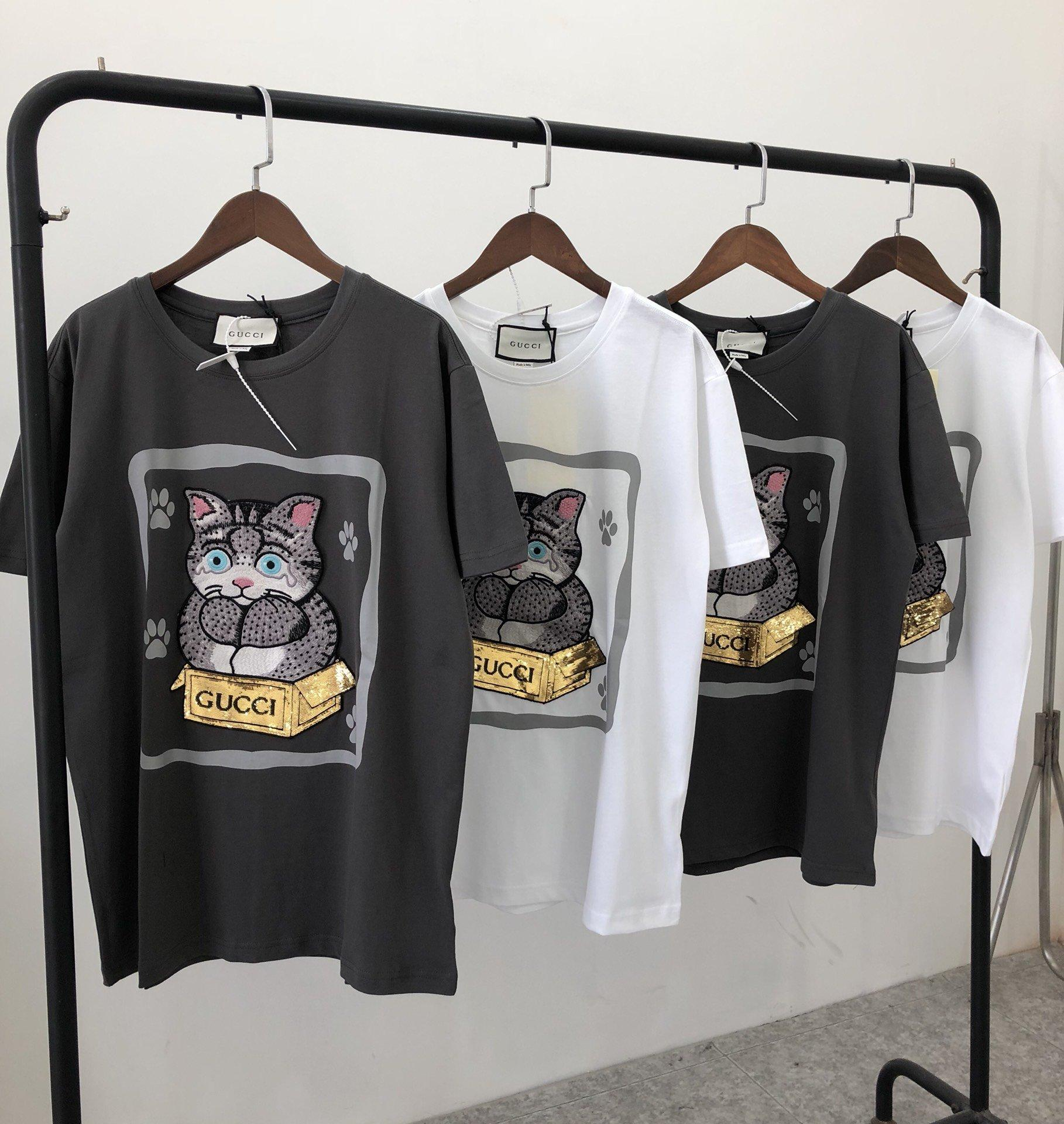 20ss luxury designer tshirt chest embroidered cat oversized Tee Shirt Men Women Streetwear Outdoor T-shirts Men's Casual Shirts 5.2