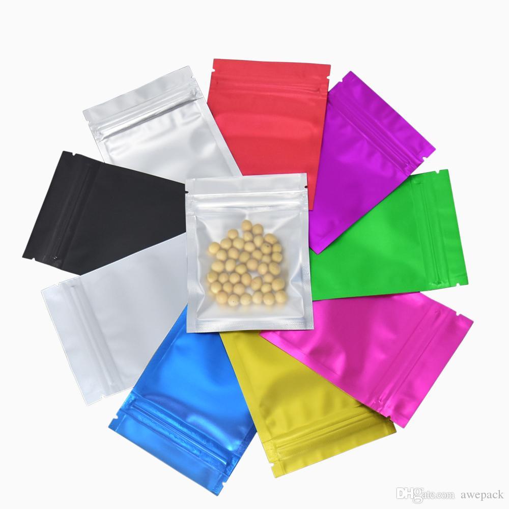 Colorful lamina di alluminio a chiusura zip alimentari Storage Bag liberi opachi serratura della chiusura lampo del pacchetto del sacchetto trasparente del sacchetto di plastica con cerniera cibo Mylar Borse 100Pcs / lotto