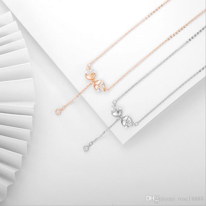 Luxo de alta qualidade ouro rosa de prata de aço inoxidável beijo peixe colar de pingente de cadeia de clavícula de cristal das mulheres presente da jóia