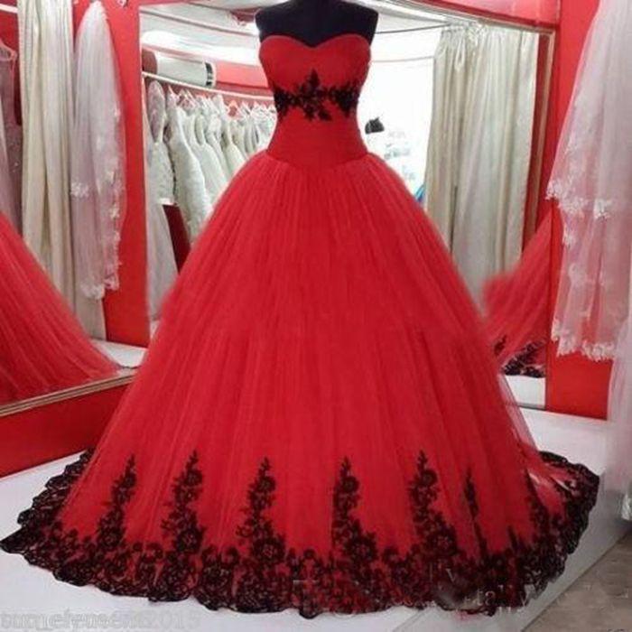 Image en noir et rouge de style gothique bal robe de mariage chérie dentelle appliques années 1960 Colorful Robes de mariée lacées