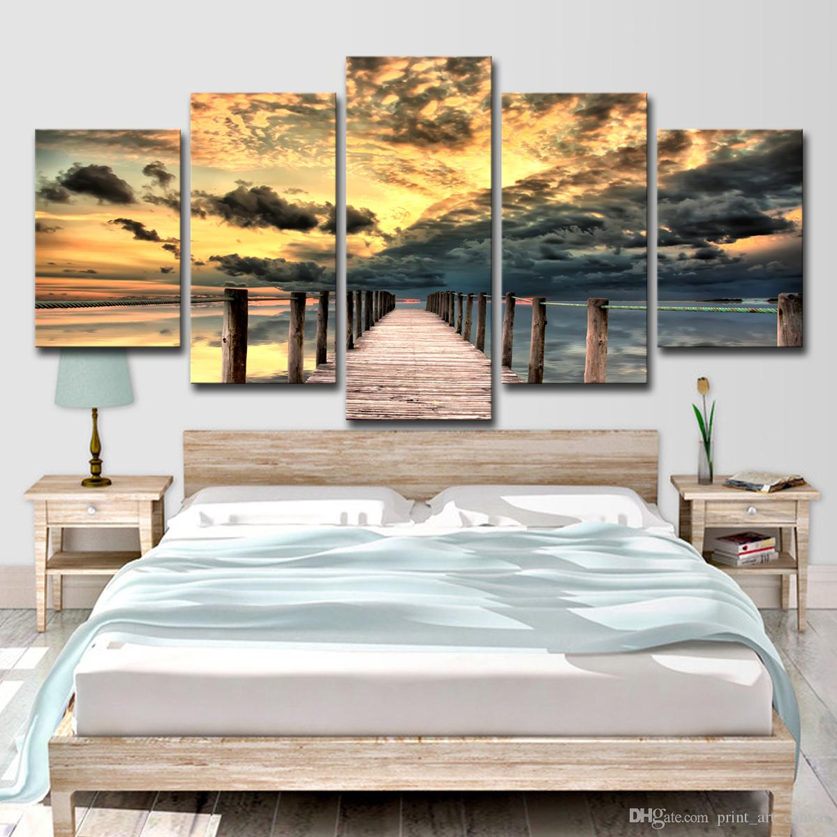 Canvas HD Prints Posters For Living Room Home Decor 5 Pieces Sunset Long Bridge Seascape Paintings Wall Art Pictures