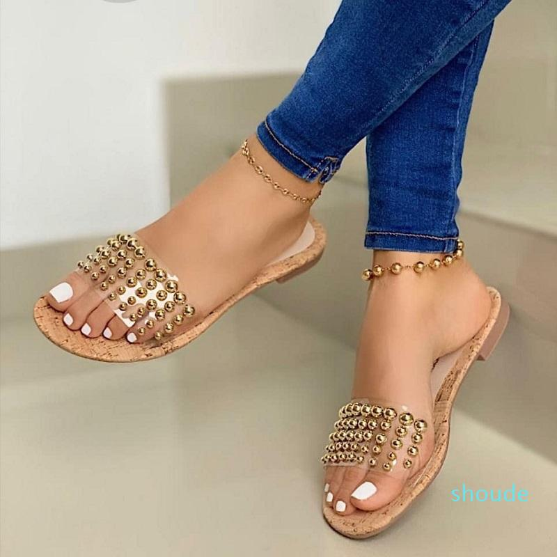 Hot venda- Verão Mulheres Plano chinelos de praia Sandálias Ladies transparentes geléia sapatos abertos Toe Limpar Slides Outdoor Flip Flops