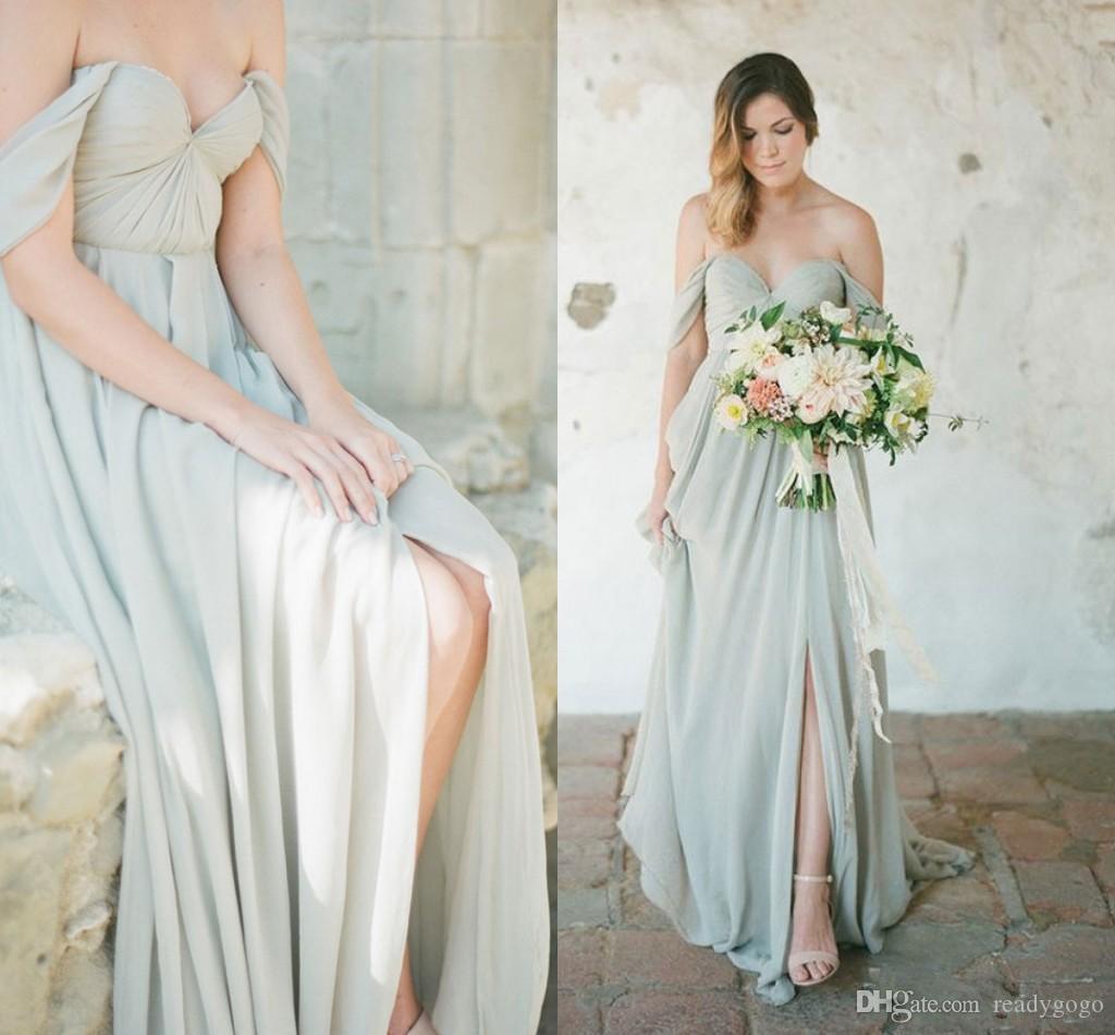 Sage vert Pays longues Robes de mariée 2020 épaules sexy Slit jupe en mousseline Boho junior de mariage Party Guest robe