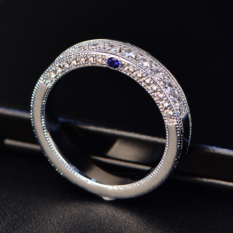 High Quality Simple Zircon Ring Women Girls Dress Sliver Color Blue Elegant Crystal Inlay Band Rings White Side Gemstone Jewelry