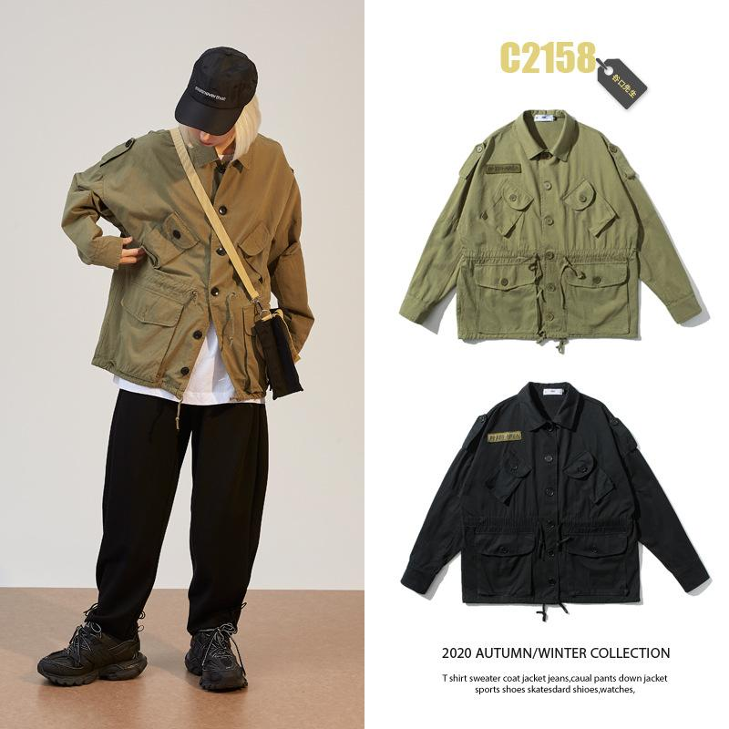 Wu Aire de primavera nuevo estilo de estilo japonés ropa de trabajo capa de los hombres de Popular Marca holgado de soporte grande de estilo japonés de bolsillo collar Casu