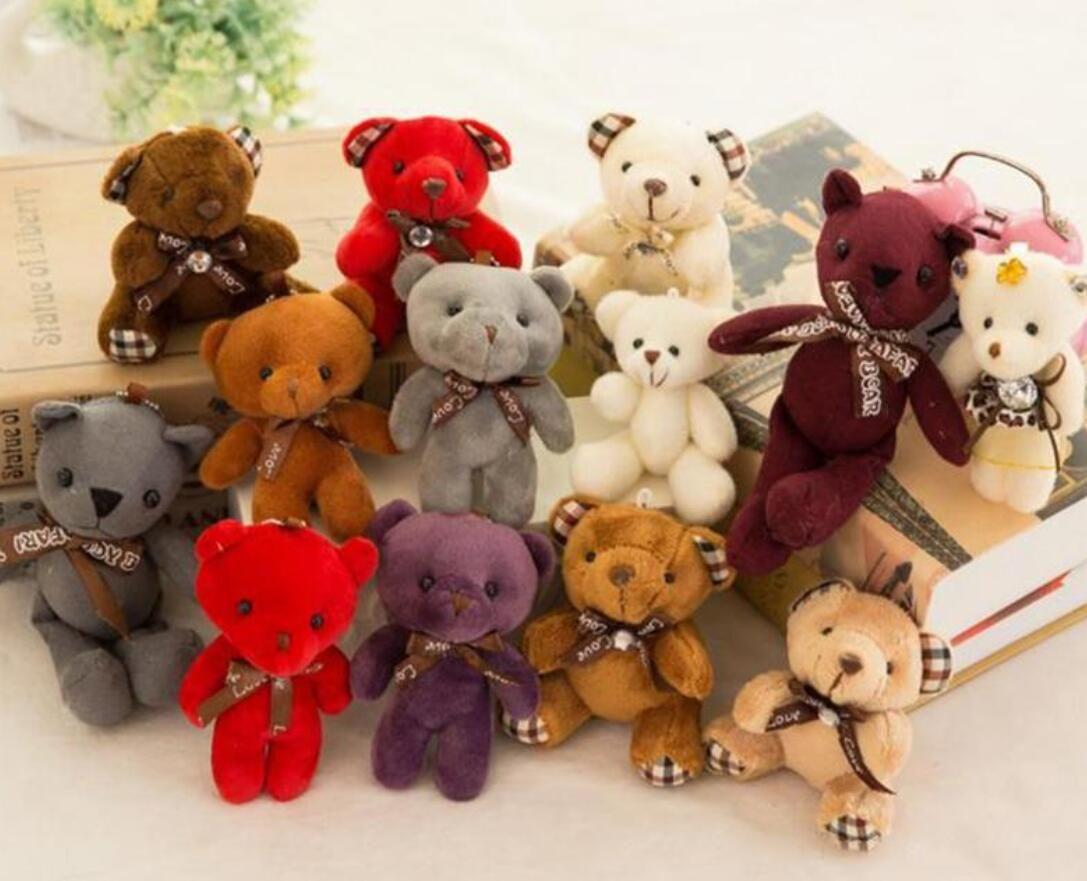 Doldurulmuş oyuncak kız bebek duş parti lehine karikatür hayvan anahtar çanta kolye Noel hediyeleri 12cm peluş oyuncaklar ayı