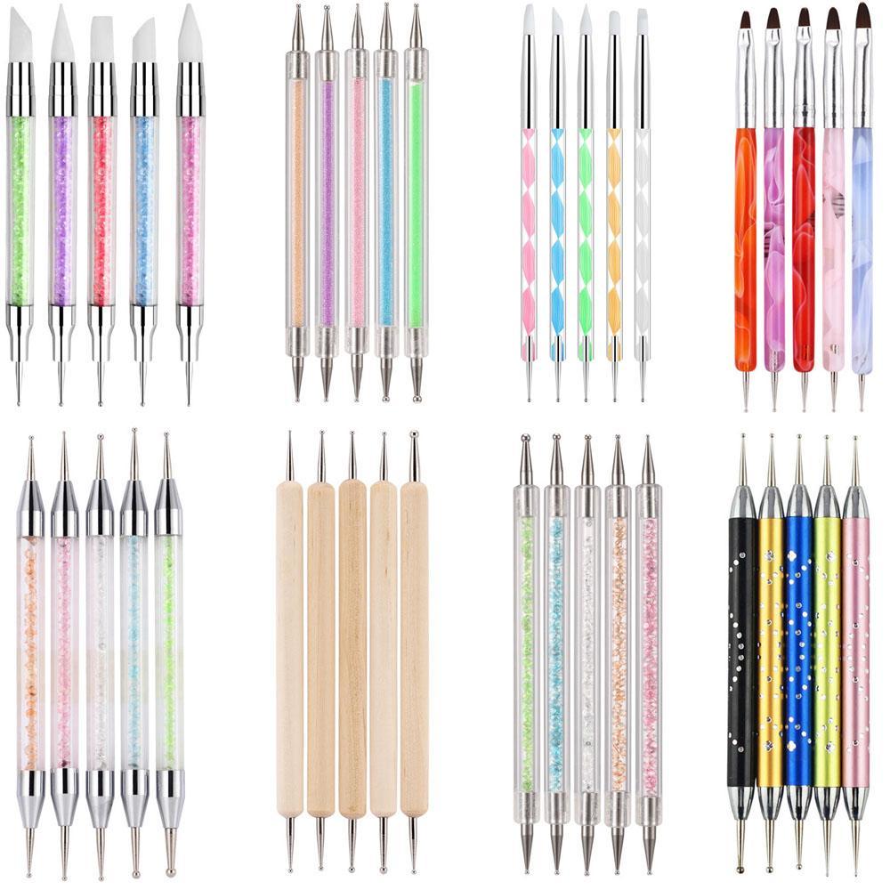 5 шт 2 пути ногтей искусства акриловый Силиконовый точка двойной головкой ногтей расставить ручка из нержавеющей стали инструментами мрамор Самоцветы выбор инструменты карандаш ручка воска
