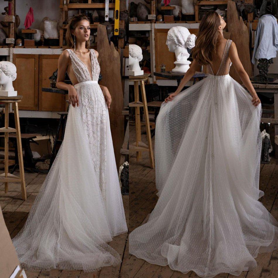 2020 A Line Brautkleider tiefem V-Ausschnitt Pailletten Applique Brautkleider Sweep Zug Backless Brautkleider Vestidos De Novia