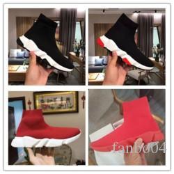 Zapatos de diseño calcetín velocidad Hombres Trianer zapatos ocasionales de las mujeres del top del alto del calcetín Slip-en los zapatos de la zapatilla de deporte de lujo clásico de color rojo al por mayor de l0471
