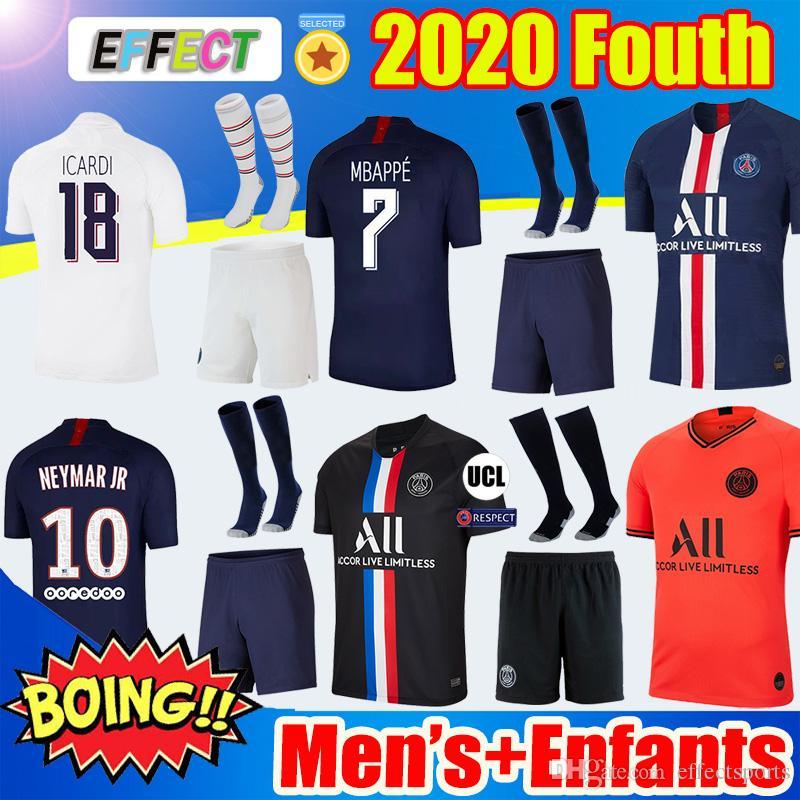 Maillots دي القدم PSG 19 20 الرابع KIT MBAPPE كرة القدم جيرسي 4 القميص الأسود ICARDI كافاني ماركينيوس لكرة القدم 2019 2020 أطفال كامل مجموعات الجوارب