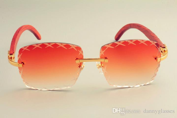 Gafas de sol nueva visera caliente, gafas de sol, gafas de sol de grabado 8300177 espejo de grabado cuadrado de madera de madera natural Templo de la lente 2019 crlo