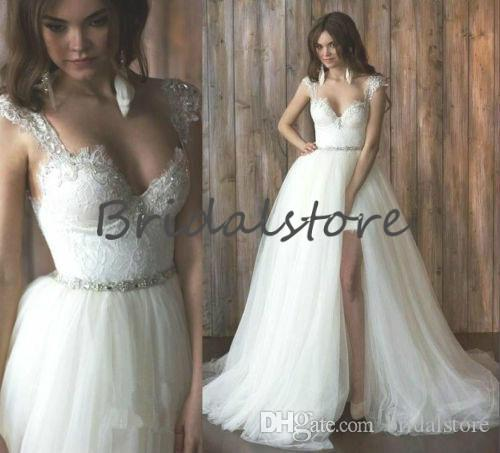 Fashion White Short Beach Wedding Dresses With Remove Skirts Cap Sleeves Crystal Sash Backless Bohemian Country Bridal Gowns Vintage 2019