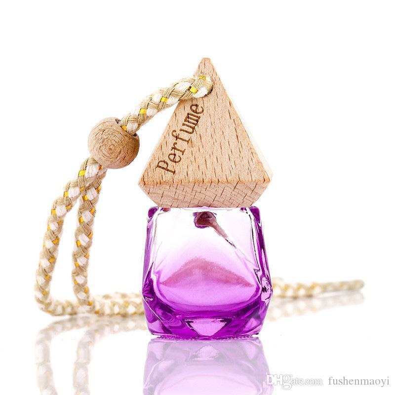 Color del coche Colgante Ambientador Perfume Difusor Botella de fragancia Cubierta piramidal Forma de diamante Botella de perfume de cristal vacía Regalo de la decoración del coche