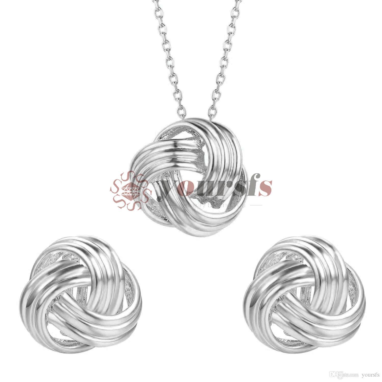 Yoursfs Bridesmaid Schmucksacheset Silber-Bindung der Knoten-Ohrringe mit weißen Perlen und Halskette Hochzeitstag Schmuck für die Braut