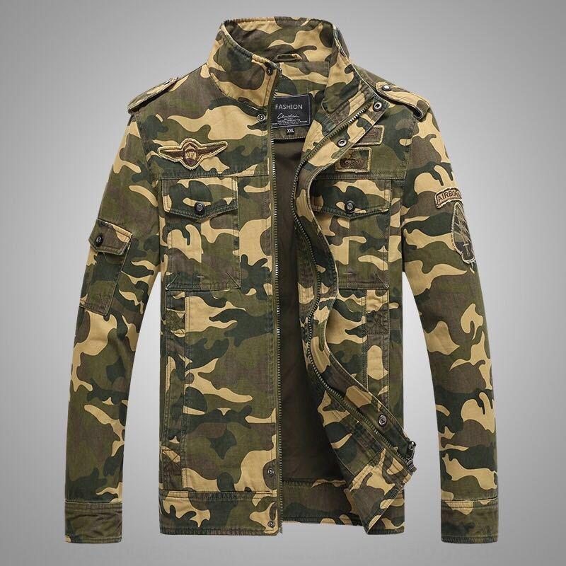 0F4Bx otoño de gran tamaño camuflaje capa de impresión Coatuniformuniformuniform utillaje chaqueta men'suniform otoño gran camou tamaño ocasional