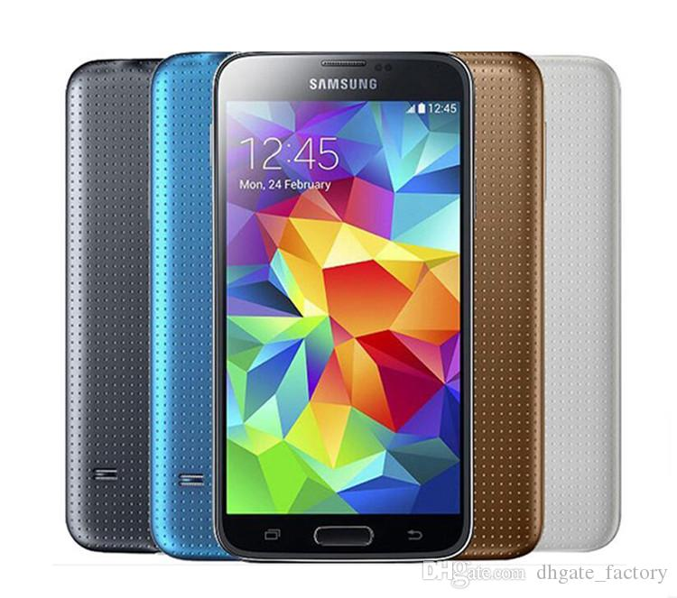 الأصلي سامسونج غالاكسي S5 G900F G900P G900V G900A G900T مع البطارية الأصلية رباعية النواة 2GB / 16GB 4G الجيل الثالث 3G مقفلة الهاتف