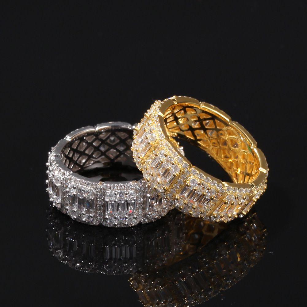 Gelado de diamante anel de luxo desenhador de luxo jóias homens anéis de moda super bacia hip hop bling ouro casamento noivado amor bague de luxo hiphop