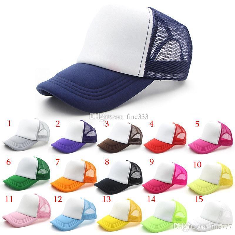 20 renkler Çocuklar yetişkin Trucker Cap toptan Blank Trucker Şapka Snapback Şapka çocuk Boyut 53-55cm Katı Renk Hiphop Plaj Şapkalar Unisex sunblocks