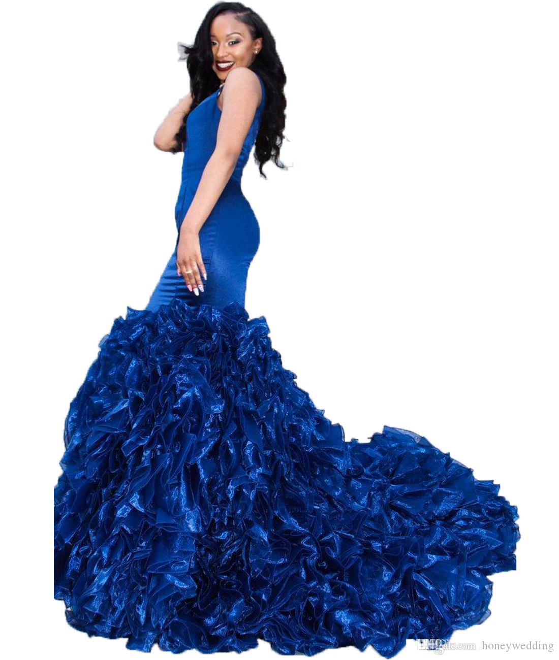 2019 Royal Blue Prom Dresses Evening Gowns Sexy Deep V Neck Sleeveless Mermaid Ruffles Organza Skirt Formal Party Dresses