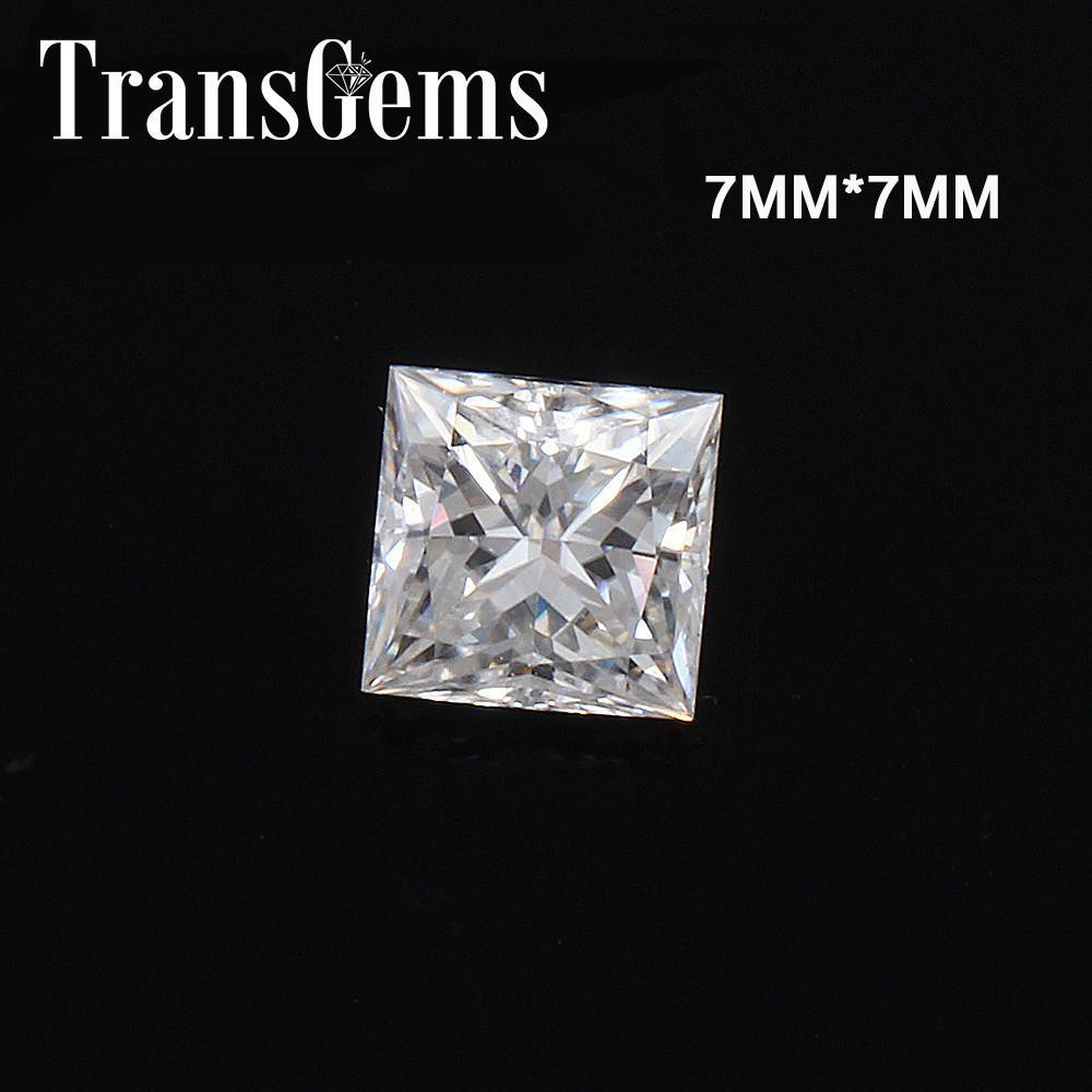 TransGems Equivalente Peso do Diamante 2ct ct 7 milímetros * 7 milímetros F Princesa cor corte Moissanite solto pedra para fazer Y200620 jóias