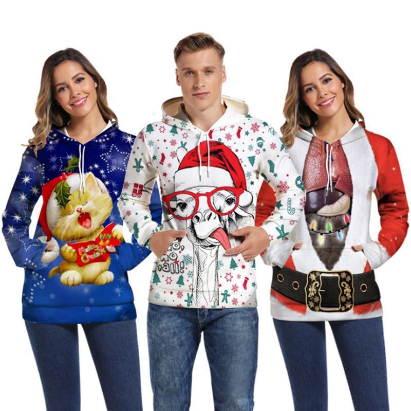 3D мужская печать с капюшоном свитер новинка свитера некрасивый рождественский свитер забавный рождественский свитер пуловер любителей одежды S191115