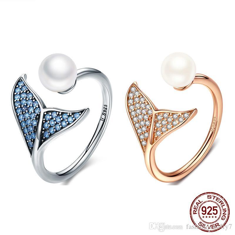 taille réglable populaire authentique Argent 925 Mermaid Dolphin queue bleue CZ doigts Bagues de femmes en argent sterling Bijoux en perles cadeau