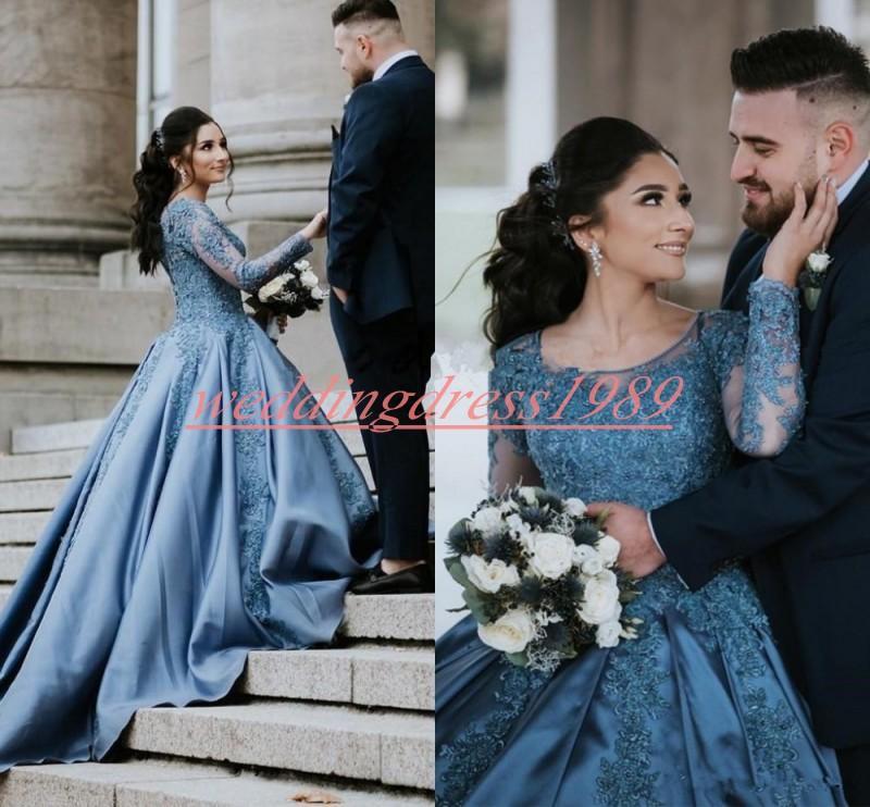 Sheer maniche lunghe Vintage Dubai abiti da sposa in raso treno A-Line Blu 2020 vestito da sposa Abito da sposa Detto mhamad nuziale palla camici