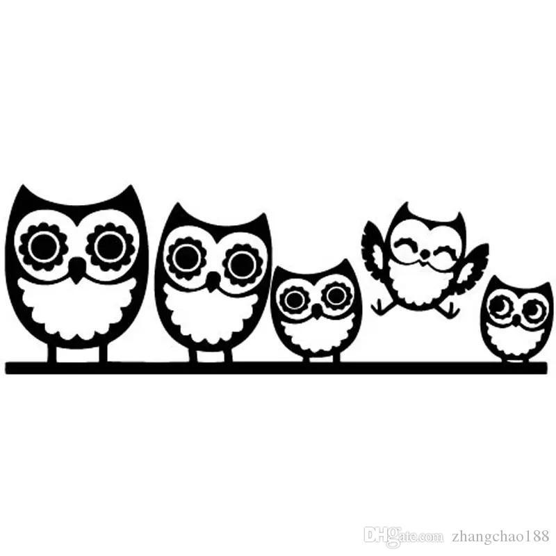 18CM Nuovo arrivo adesivi per auto Carino OWL Famiglia felice divertente adesivi riflettenti decalcomanie Argento nero