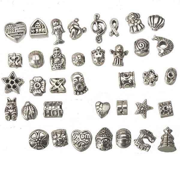 الخرز الأوروبي مزيج مجموعة معدن تصميم ديي حفرة كبيرة العتيقة الفضة والأساور الجملة أساور الهدايا الأزياء والمجوهرات النتائج 185pcs