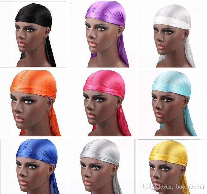 Новая мода Мужская атласная Durags Бандана Тюрбан Парики Мужчины Silky Durag головной убор оголовье Pirate Hat Аксессуары для волос