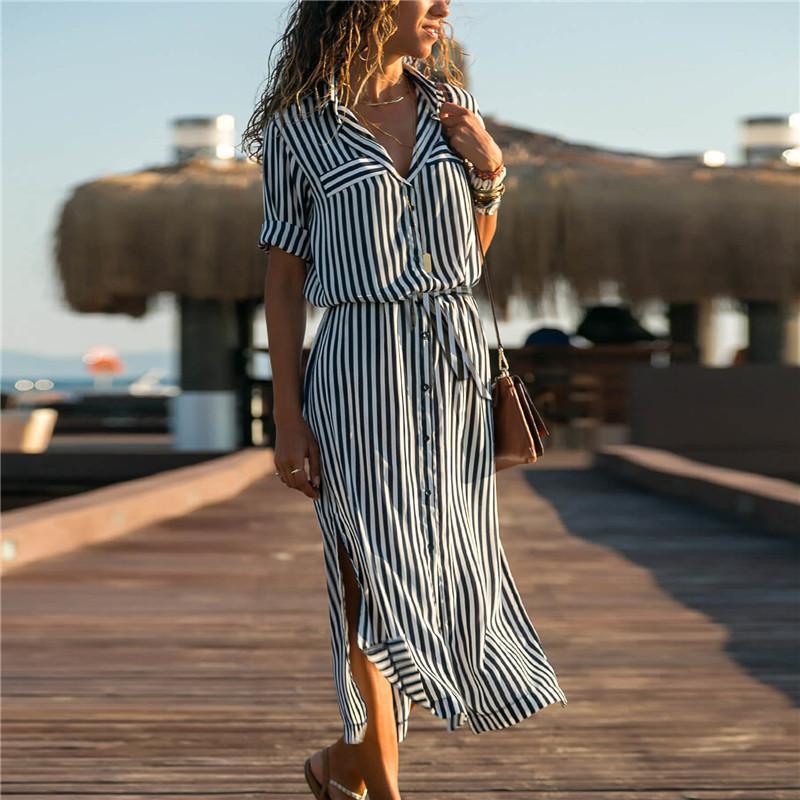 Günlük Elbiseler 2021 Dönüş Yaka Ofis Bayanlar Şerit Gömlek Elbise Uzun Şifon Plaj Kollu Zarif Parti Vestidos