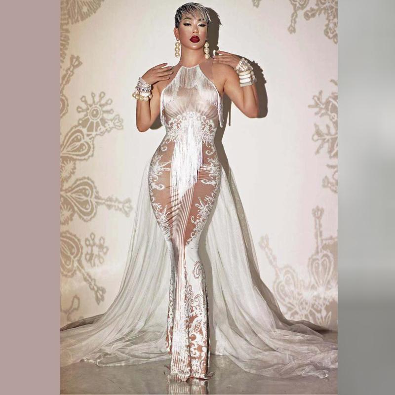 Nude White Dress coda del costume di ballo GOGO performance di danza Abbigliamento Stretch partito del vestito bianco della frangia di promenade Cantante lunga tappa