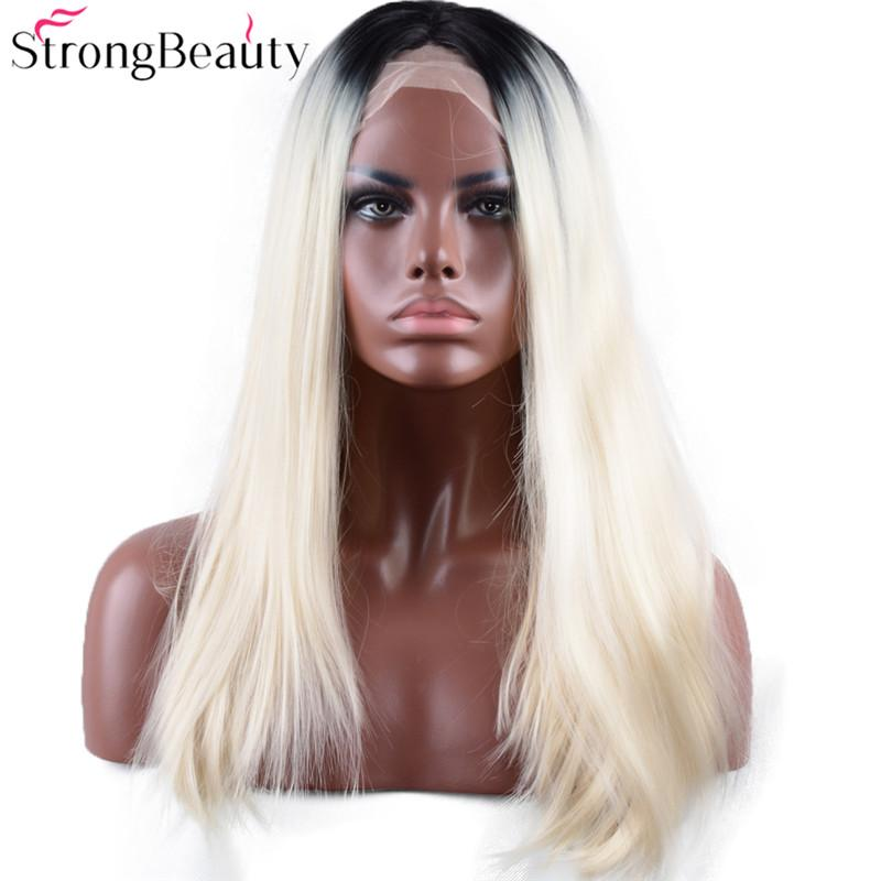 Long Straight Bleach Blonde Wig Synthetic Ombre Black to Light Blond Lace Front Wig