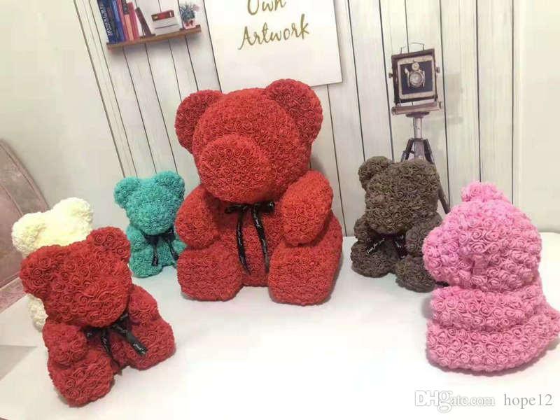 انخفاض الشحن 40CM الأحمر تيدي بير روز زهرة عيد الميلاد الاصطناعية هدايا لليوم هدية القطيفة الدب \ الأرنب المرأة الحب