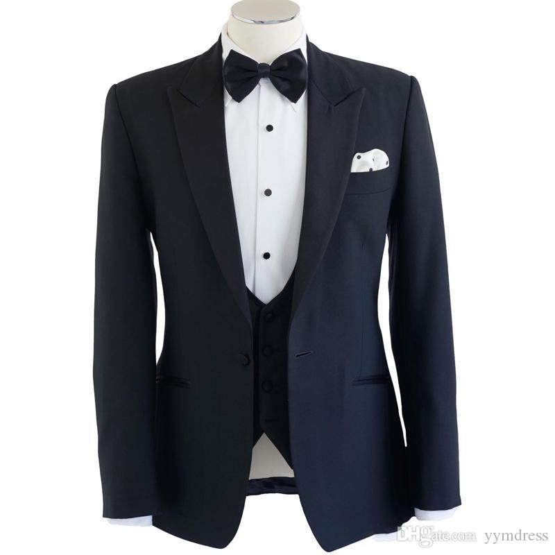 Navy Blue Wedding Tuxedos 2019 One Button Peaked Lapel Men Suits for Groom Three Piece Suit (Jacket + Vest + Pants)