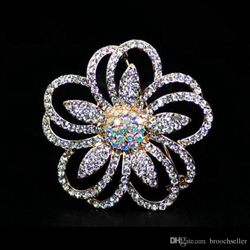 Rose Gold Plated Clear Rhinestone Crystal Diamantes Flower Party Brooch Pins