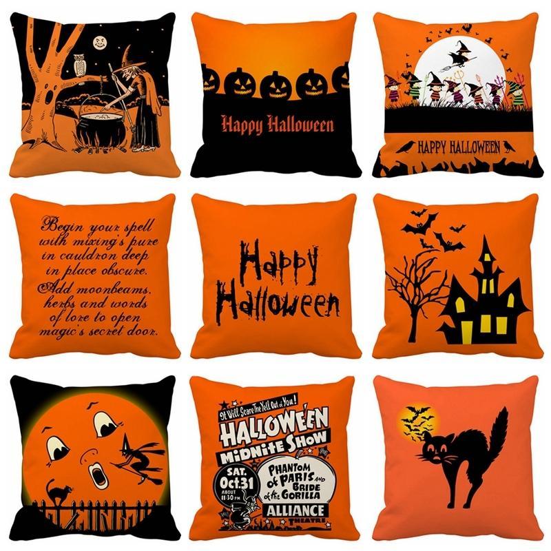 45x45cm Хэллоуин Подушка Обложка Декор Хэллоуиной наволочка Полиэстер диван Pumpkin привидение Подушка Обложка Home Decor