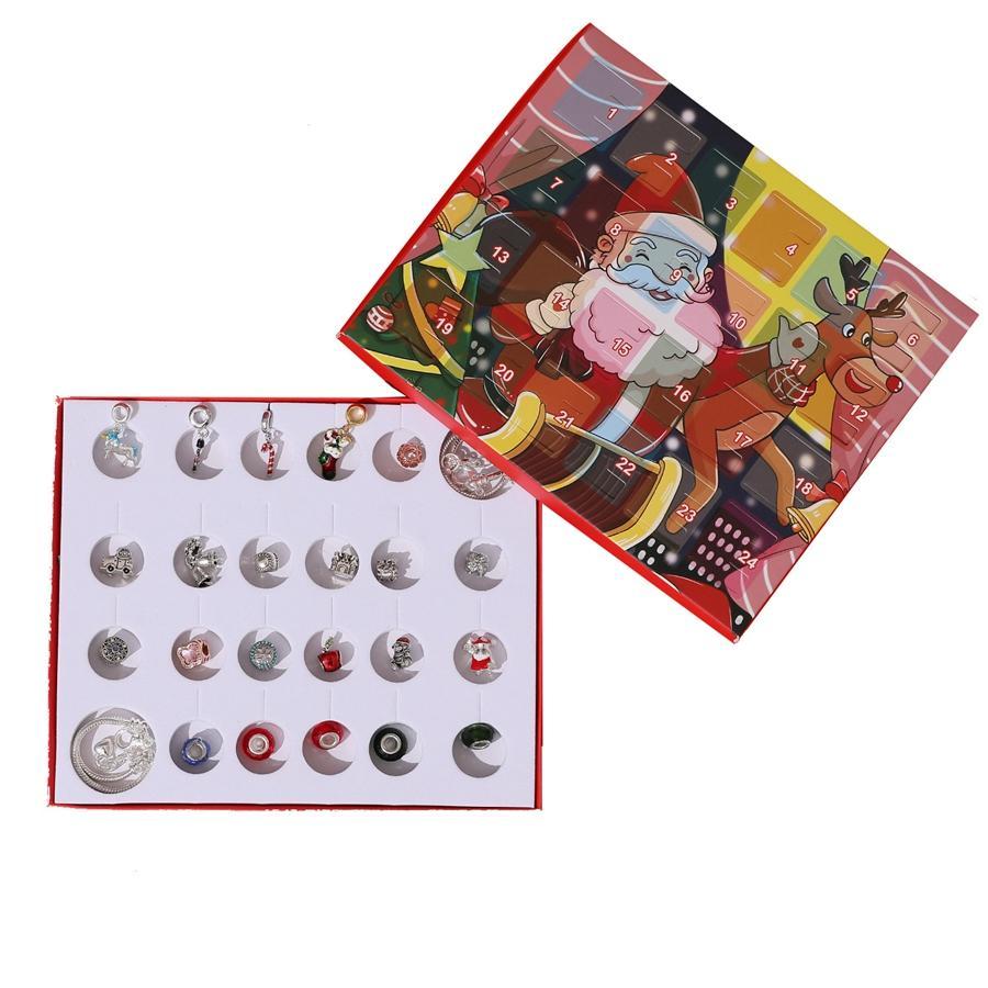 Juego de accesorios de pulsera DIY Joyería de Navidad Calendario de cuenta regresiva para niños Caja de regalo Moda Calendario de Adviento de Navidad TTA1596