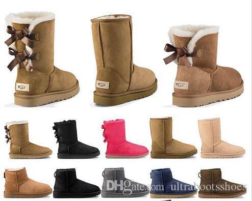 2020 جديد مصمم الأحذية أستراليا إمرأة بنت حذاء الثلوج الكلاسيكية بووتي الكاحل قصيرة التمهيد الفراء القوس لحجم الشتاء الأسود كستنائي الأزياء 36-41