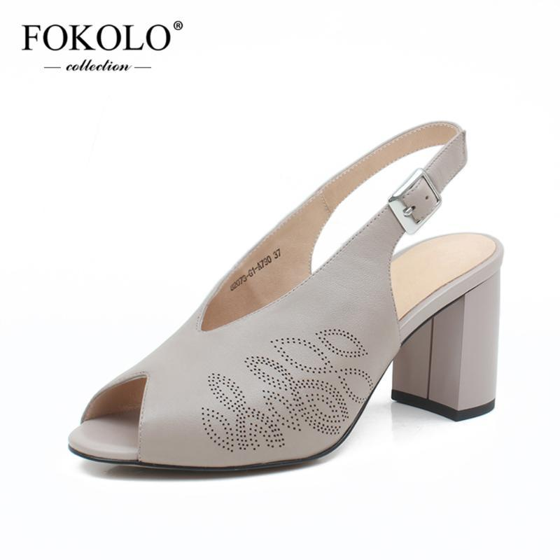 FOKOLO New Fashion Summer Sandals Casual Thick Heels Women Pink Genuine Leather Upper Rubber Sole Spring Autumn Women Shoes L14