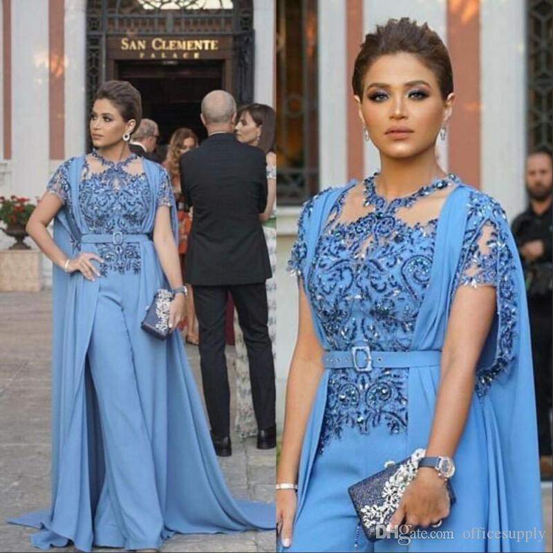 Yeni Tasarım Tulumlar Gelinlik Modelleri Ile Wrap 2019 Suudi Arapça Boncuklu Aplike Abiye giyim Uzun Kadın Parti Suit