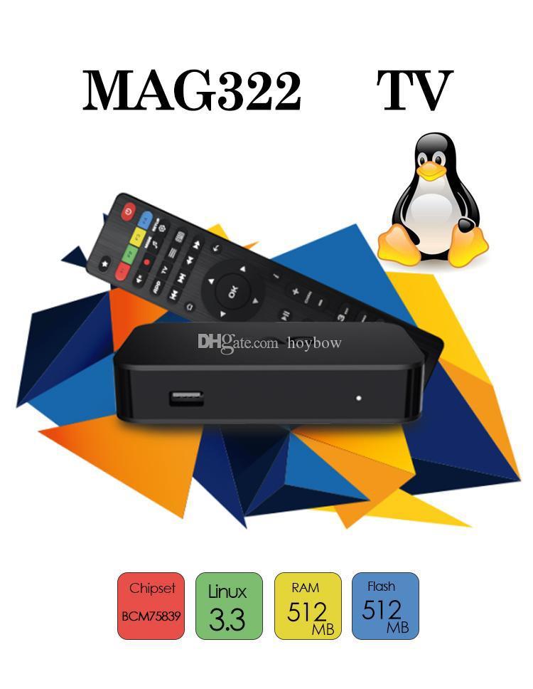 Ventas al por mayor MAG 322w1 Estructura en Wifi reciente Linux 3.3 OS Set-Top Box MAG322 / W1 mag322w1 HEVC H.265 Smart Box Media Player