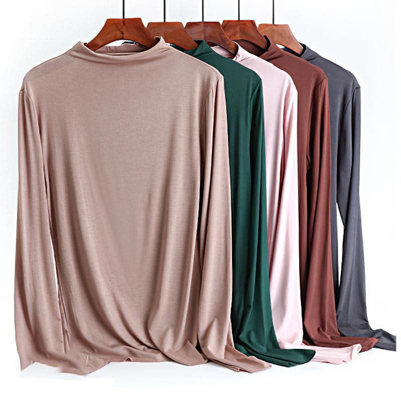Frauen-Halb Turtle Neck Solid Color Basic-T-Shirts 2020 Frühling plus Größe Modal XXL Stretch Langarm-Tops T-Shirt Femme