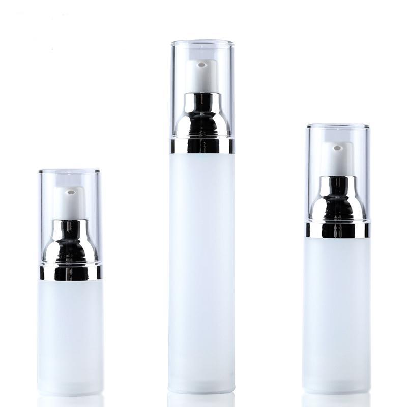 1 adet Cilt bakım şişesi 15 ML / 20 ML / 30 ML / 50 ML Kore versiyonu vakum şişe Beyaz donuk lehçe Kozmetik şişeler toptan BQ262