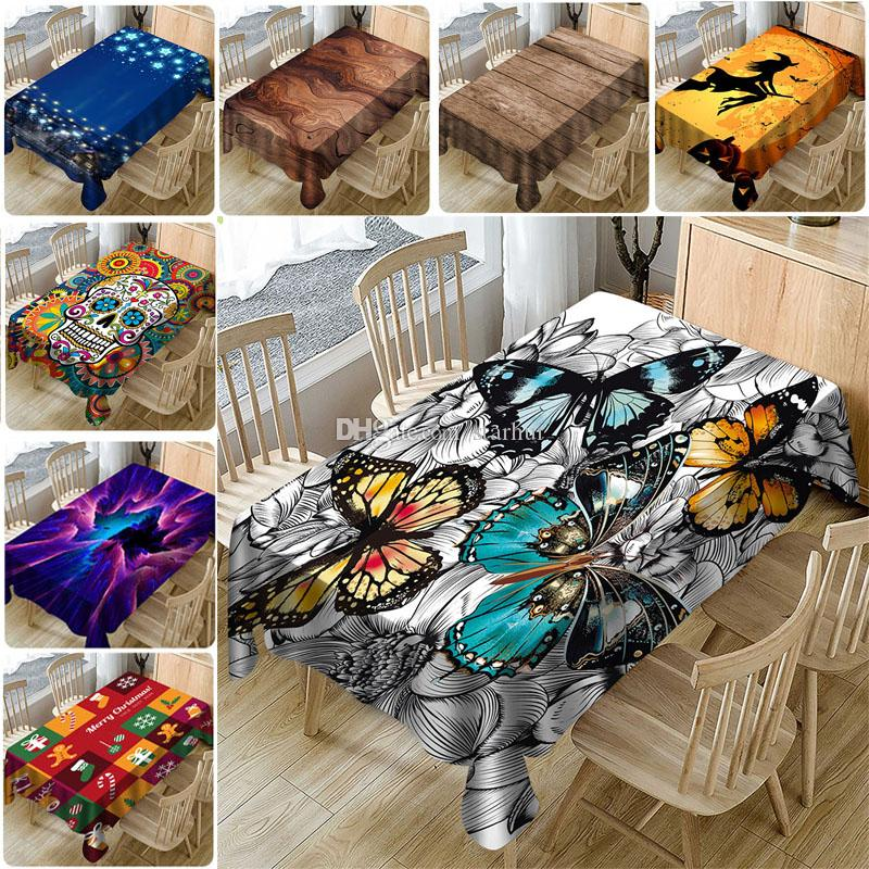 Table Cloth New Year Christmas 3D Printed Waterproof Polyester Cloth Tablecloth Household Table Cover Christmas Decorations 11Style WX9-1729