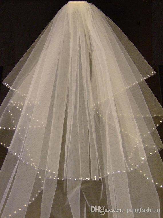 Luxuoso branco marfim champanhe vermelho preto roxo rosa de duas camadas véu do casamento incrível strass borda valsa comprimento véu de noiva